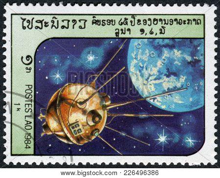 Laos-circa 1984: A Stamp Printed In The Laos, Depicts The Spacecraft Luna 2, Circa 1984