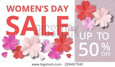Womens Day Sale Horisontal Web Banner In Origami Style