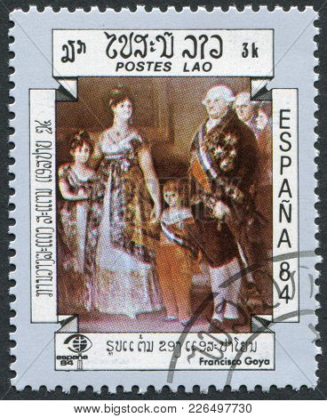 Laos-circa 1984: A Stamp Printed In The Laos, The Picture Depicted The Family Of Charles Iv, By Fran