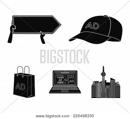 Baseball Cap, Pointer In Hands, Laptop, Shopping Bag.advertising, Set Collection Icons In Black Styl