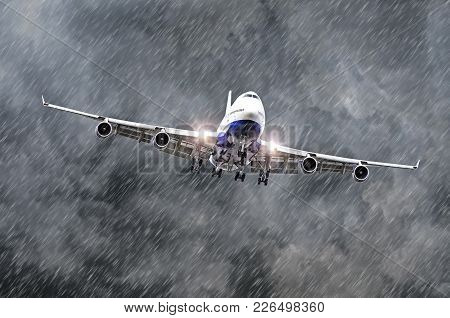 Large Passenger Airplane Approaches The Landing At The Airport Of Rain, Bad Weather