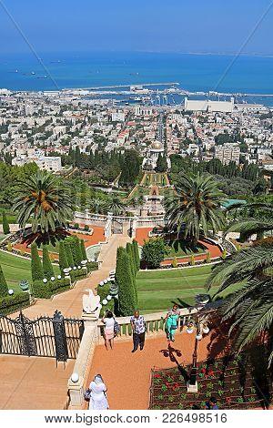 Haifa, Israel - September 18, 2017: Bahai Gardens And The Cityscape Of Haifa, Israel