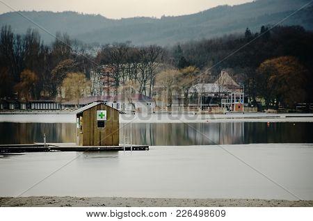 First Aid Station Outside The Tourist Season On Kamencove Jezero Alum Lake  In Czech City Of Chomuto