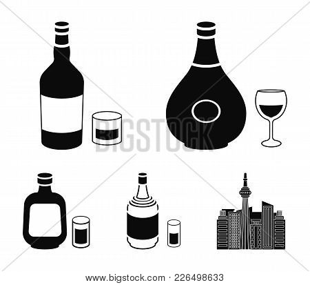 Herbal Liqueur, Gin, Cognac, Rum.alcohol Set Collection Icons In Black Style Vector Symbol Stock Ill