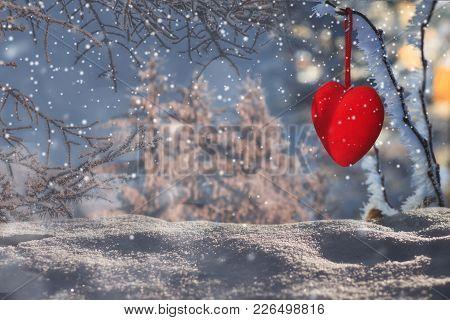 Decorative Velvet Red Heart On Snow-covered Fir Branch.valentine Day Card. Winter Holidays. Valentin