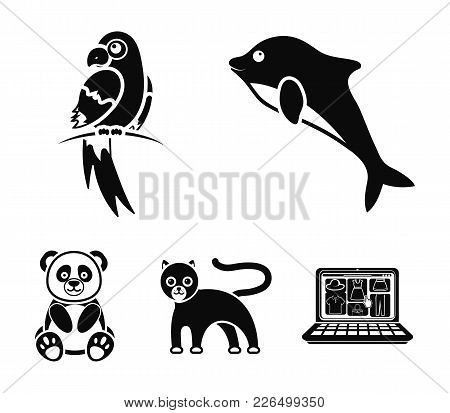 Panda.popugay, Panther, Dolphin.animal Set Collection Icons In Black Style Vector Symbol Stock Illus