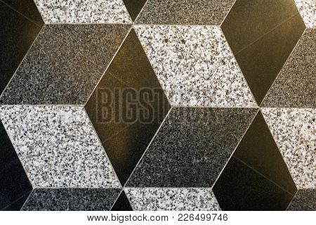 Part Of Mosaic Rhombus Ceramic Floor Tiles, Background, Texture, Beige And Brown Colors