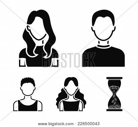 Girl With Long Hair, Blond, Curly, Gray-haired Man.avatar Set Collection Icons In Black Style Vector