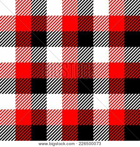 Lumberjack Plaid Pattern In Red, White And Black. Seamless Vector Pattern. Simple Vintage Textile De