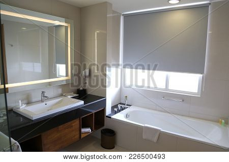 Luxury Bathroom Bath Interior With Granite Countertops And Flooring