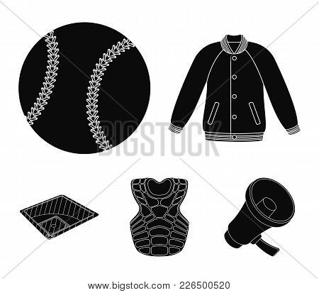 Playground, Jacket, Ball, Protective Vest. Baseball Set Collection Icons In Black Style Vector Symbo