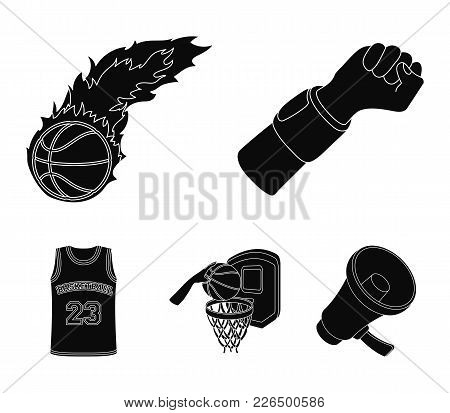 Hand With A Bandage, A Fireball, A Ball In The Basket, A Form. Basketball Set Collection Icons In Bl