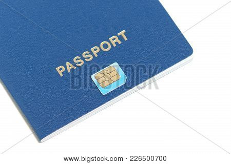 Flat Design Of Passport With Chip Icon Lying On White Background With Copy Space For Your Text. Biom