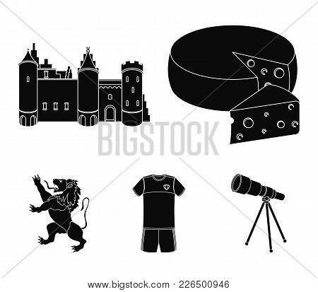 Cheese, Lion And Other Symbols Of The Country.belgium Set Collection Icons In Black Style Vector Sym