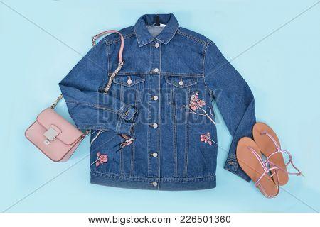 blue Embroidered flowers,bird,bird jacket jeans ,shoes , handbag -  blue background