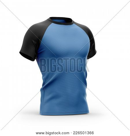 Men's blue t shirt with round neck and black raglan sleeves. 3d rendering. Clipping paths included: whole object, collar, sleeves. Isolated on white background.