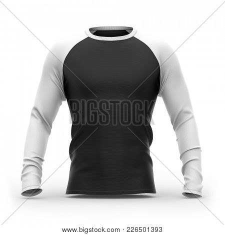 Men's t shirt with raglan long sleeves and round neck. 3d rendering. Clipping paths included: whole object, collar, sleeves.  Isolated on white background.