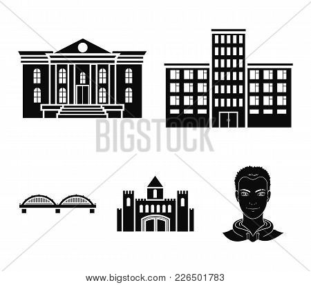 Museum, Bridge, Castle, Hospital.building Set Collection Icons In Black Style Vector Symbol Stock Il