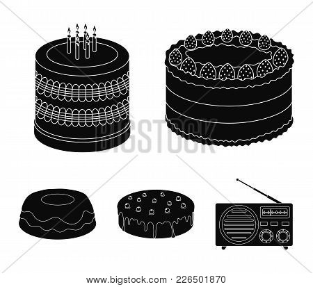 Sweetness, Dessert, Cream, Treacle .cakes Country Set Collection Icons In Black Style Vector Symbol