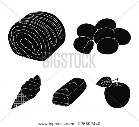 Dragee, Roll, Chocolate Bar, Ice Cream. Chocolate Desserts Set Collection Icons In Black Style Vecto