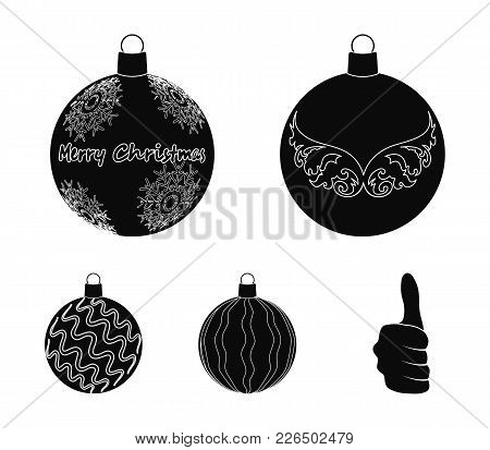 New Year's Toys Black Icons In Set Collection For Design.christmas Balls For A Treevector Symbol Sto
