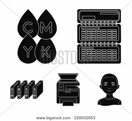 Calendar, Drops Of Paint, Cartridge, Multifunction Printer. Typography Set Collection Icons In Black