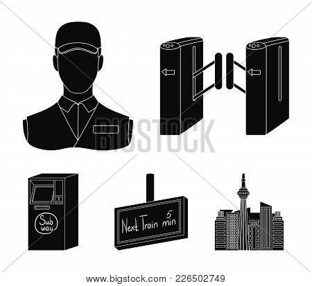 Mechanism, Electric , Transport, And Other  Icon In Black Style. Pass, Public, Transportation, Icons