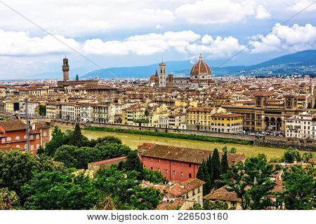The City Of Florence And The Saint Mary Of The Flower Cathedral In Italy
