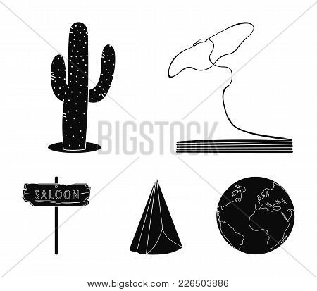 Lasso, Cactus, Wigwam, Saloon Index. Wild West Set Collection Icons In Black Style Vector Symbol Sto