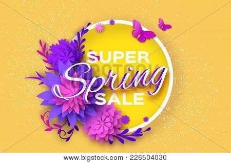Origami Violet Super Spring Sale Flowers Banner. Butterfly. Paper Cut Floral Card. Spring Blossom. H