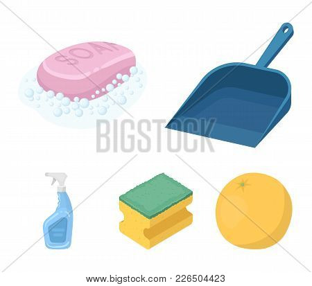 Blue Scoop For Garbage, Pink Soap With Foam, Sponge For Washing, Pulvelizer For With A Means For Win