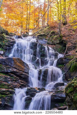Waterfall In The Forest. Autumn In The Forest. Waterfall In The Rock.