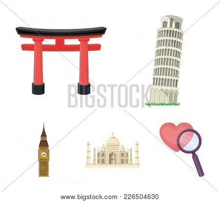 Sights Of Different Countries Cartoon Icons In Set Collection For Design. Famous Building Vector Sym