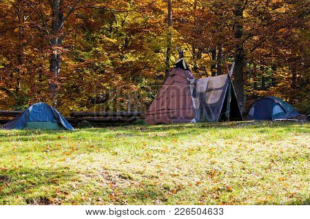 A Variety Of Tents. Tourist Tents In The Forest. Homemade Shelter From The Rain.