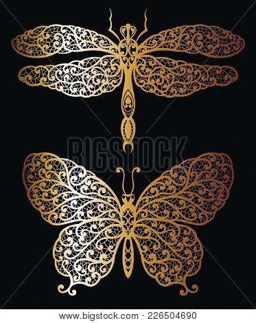 Butterfly And Dragonfly In Gold. Decorative Butterfly And Dragonfly