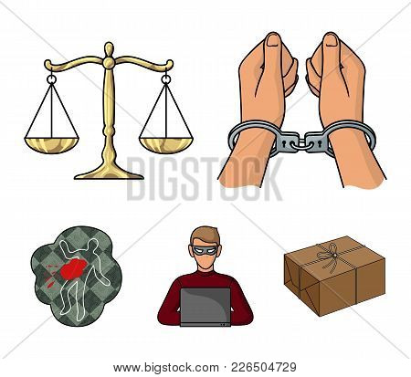 Handcuffs, Scales Of Justice, Hacker, Crime Scene.crime Set Collection Icons In Cartoon Style Vector