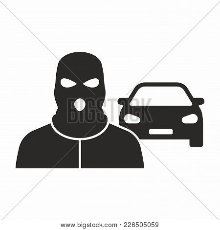 Car Theft. Vector Icon Isolated On White Background.