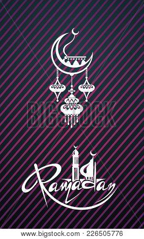 Ramadan Kareem Illustration. Ramadan Kareem Card With Moon