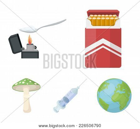 Cigarettes, A Syringe, A Galoyucinogenic Fungus, Heroin In A Spoon.drug Set Collection Icons In Cart