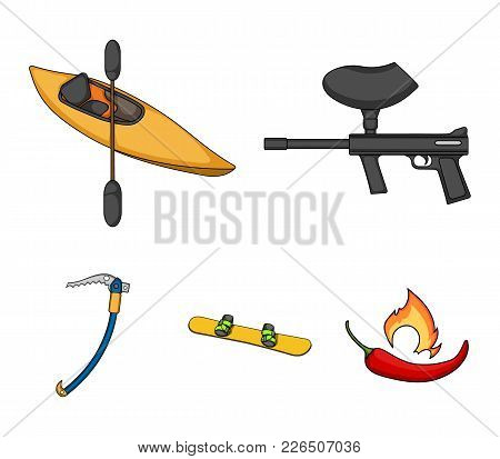 Paintball Marker, Kayak With A Paddle, Snowboard And Climbing Ice Ax.extreme Sport Set Collection Ic