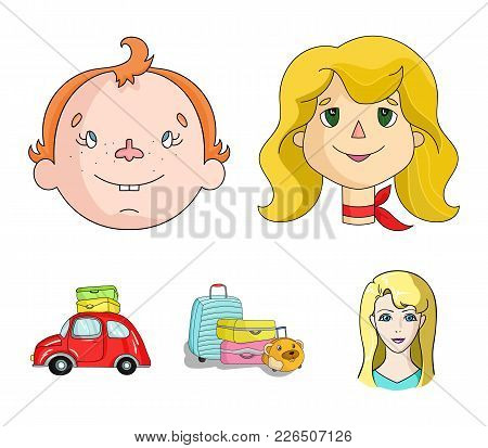 Camping, Woman, Boy, Bag .family Holiday Set Collection Icons In Cartoon Style Vector Symbol Stock I