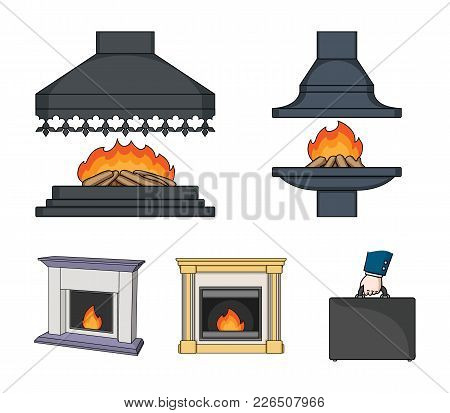 Fire, Warmth And Comfort.fireplace Set Collection Icons In Cartoon Style Vector Symbol Stock Illustr
