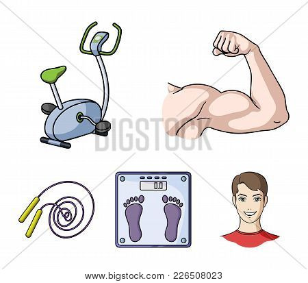 Biceps, Exercise Bike, Scales For Weighing, Skalka. Fitnes Set Collection Icons In Cartoon Style Vec