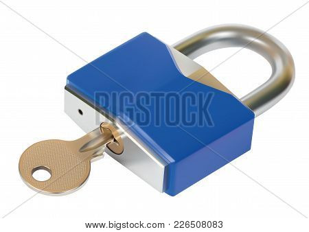 Padlock With Key Over A White Background
