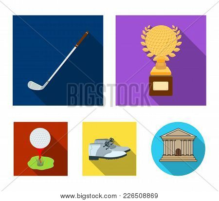 Cup, Golf Club, Ball On The Stand, Golfer Shoes.golf Club Set Collection Icons In Flat Style Vector