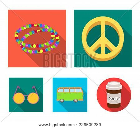 A Hippie Sign, Beads, A Bus, Round Glasses.hippy Set Collection Icons In Flat Style Vector Symbol St