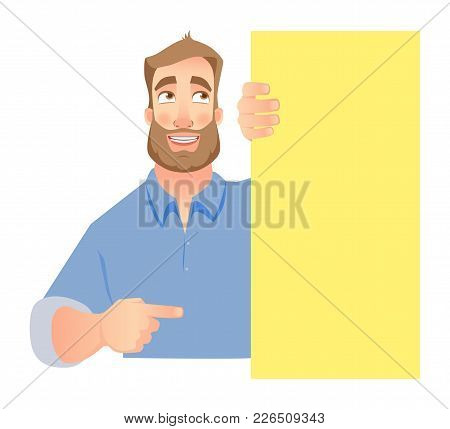 Man Holding Blank Signboard, Shy Businessman Pointing To Banner. Vector Illustration Set