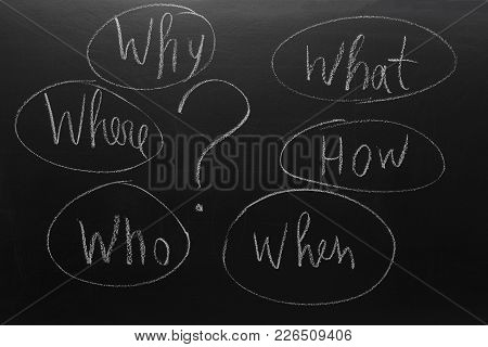 What, Where, Who, Why, When How Written With Chalk On Blackboard