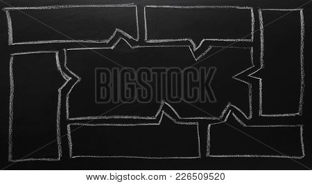 Hand Drawing On Chalkboard. Business Concept. Blank Drawings For Text