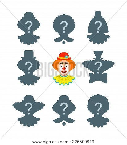 Find The Shadow Educational Puzzle Game. Match The Correct Silhouette Of Funny Clown Face. Visual Te
